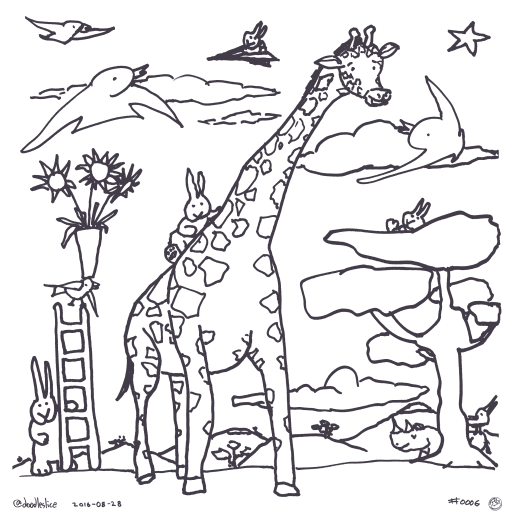 Giraffe Rides - Coloring Page