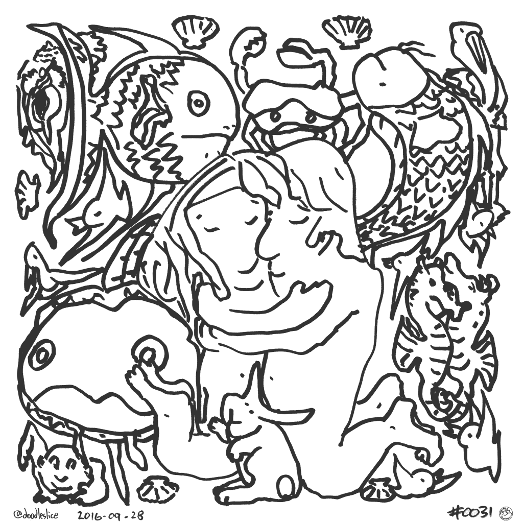 Fish and Fowl - Coloring Page