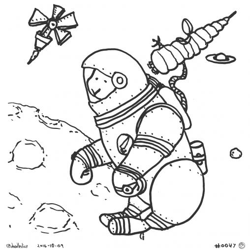 Astro Bunny - Coloring Page
