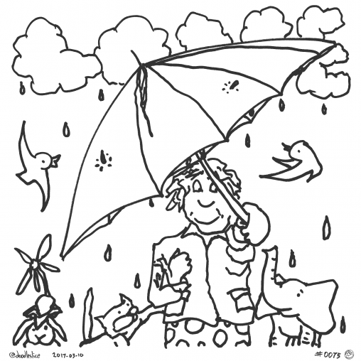 The Colorful Umbrella - Coloring Page