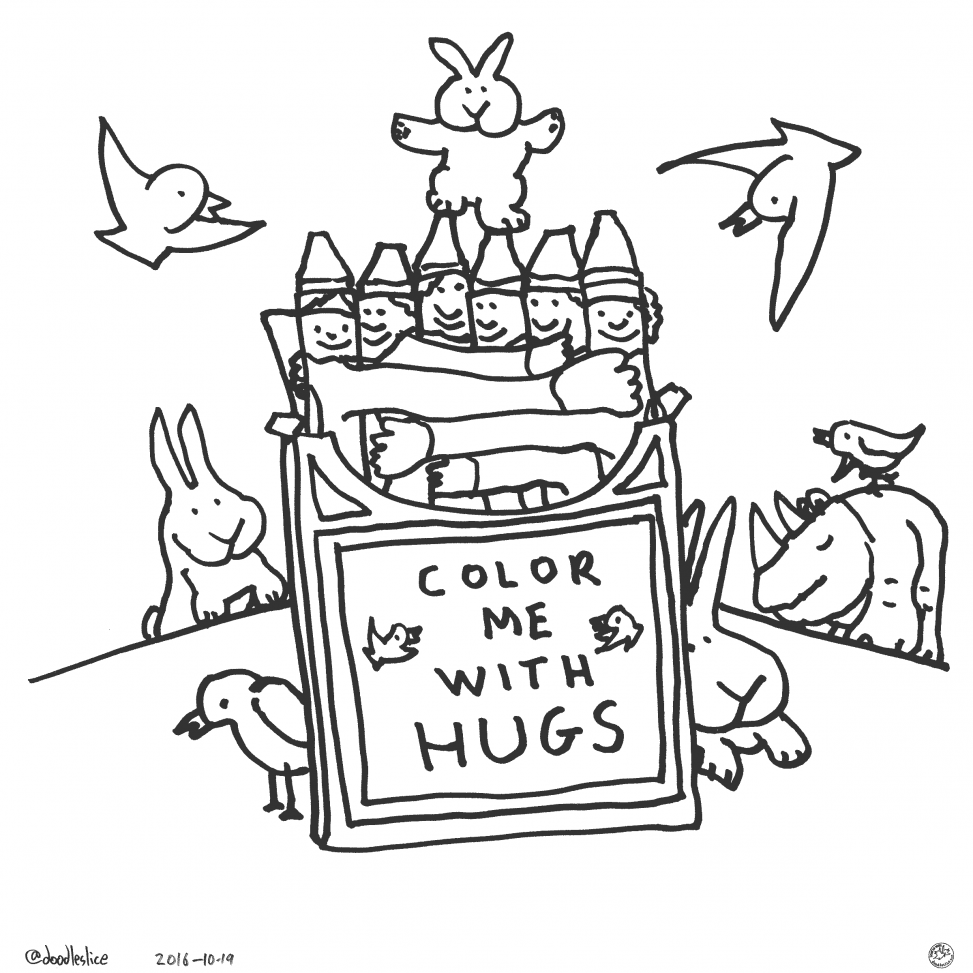 Color Me With Hugs - Coloring Page